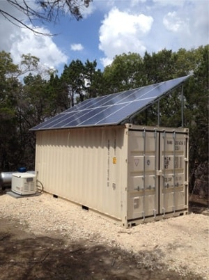 solar panels on a shipping container structure